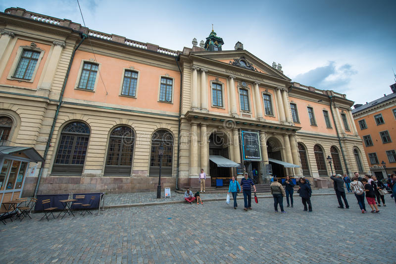 Nobel Prize museum, Stockholm. STOCKHOLM - CIRCA JULY 2015: Swedish Academy on Stortorget square.. The building is the location of the Academy Committees which royalty free stock photos