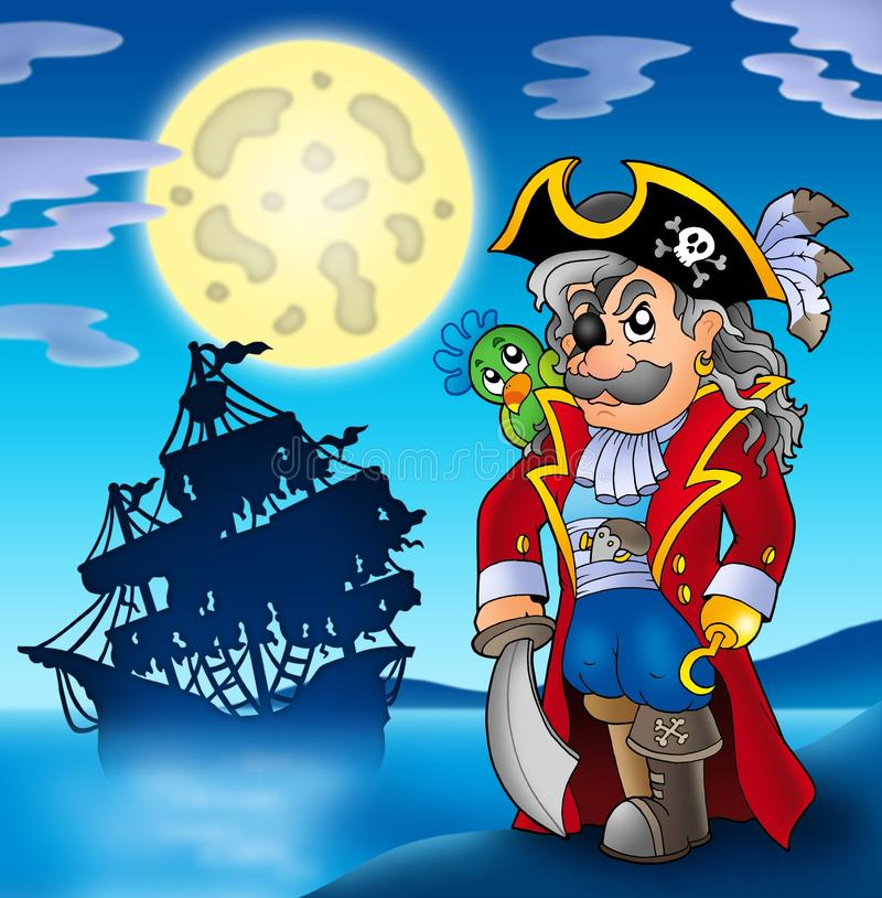 nobel shipsilhouette för corsair royaltyfri illustrationer