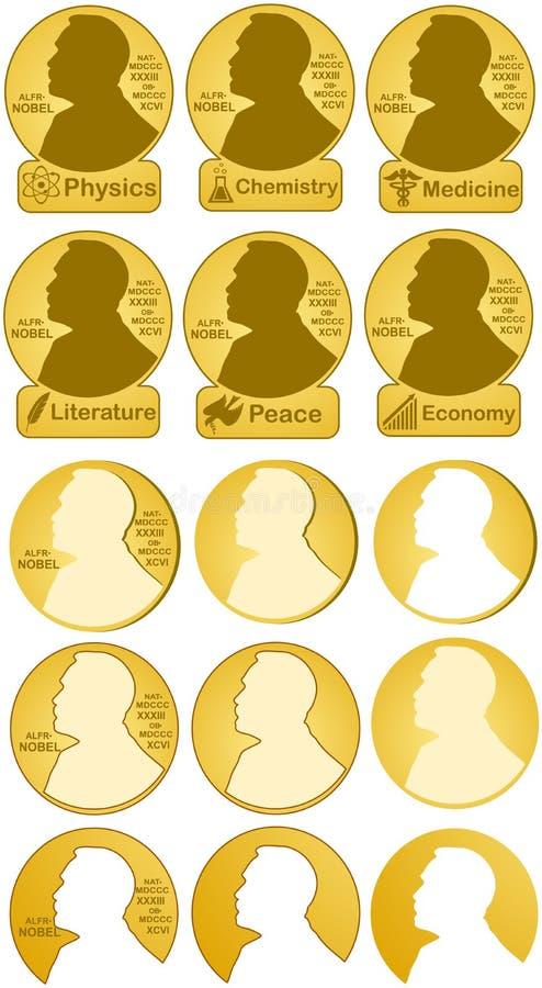Nobel värderar högt i fysik, kemi, medicin, litteratur som är ekonomisk, fred arkivbild