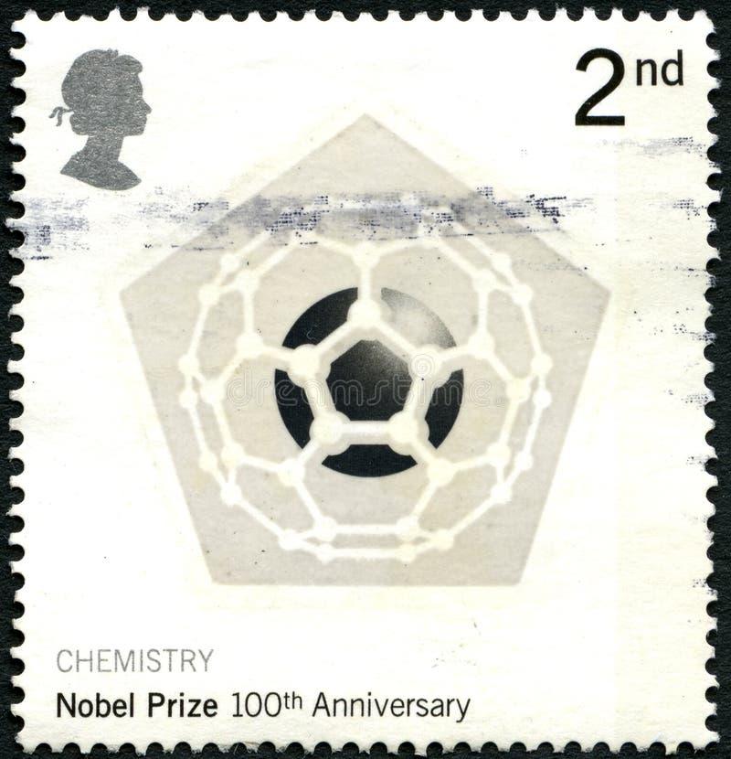 Nobelpreis-100. Jahrestags-BRITISCHE Briefmarke lizenzfreies stockbild