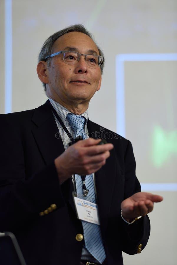 Nobelprispristagare i fysik Steven Chu arkivbild