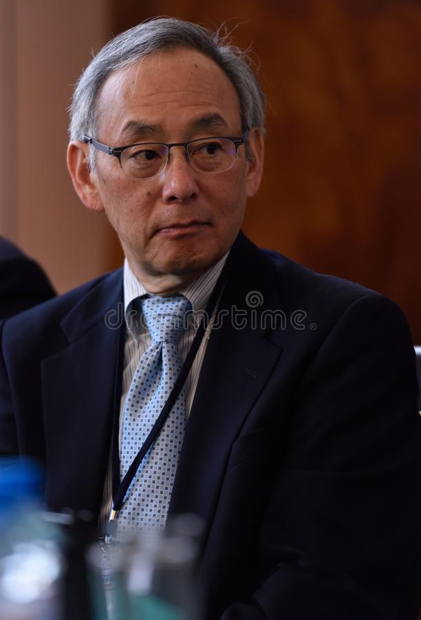 Nobelprispristagare i fysik Steven Chu royaltyfri foto