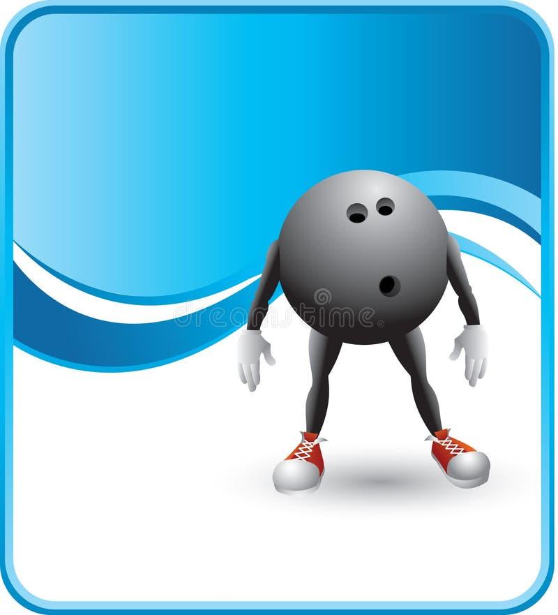 Noble blaue Bowlingspielkugel-Zeichentrickfilm-Figur lizenzfreie abbildung