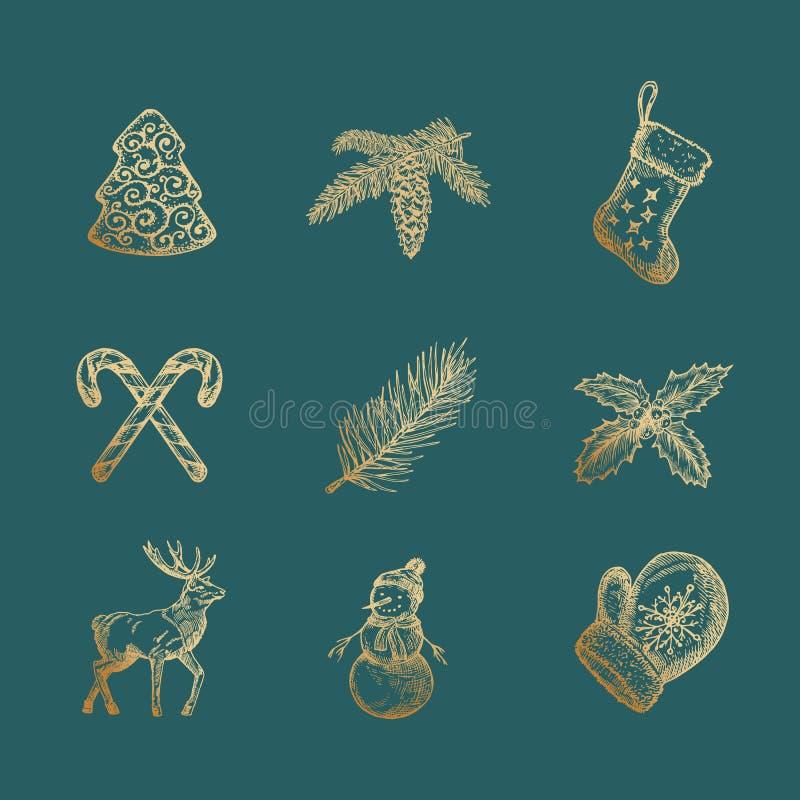 Noble frohe Weihnacht-und guten Rutsch ins Neue Jahr-abstrakte Vektor-Zeichen, Aufkleber oder Ikonen eingestellt Hand gezeichnete lizenzfreie abbildung