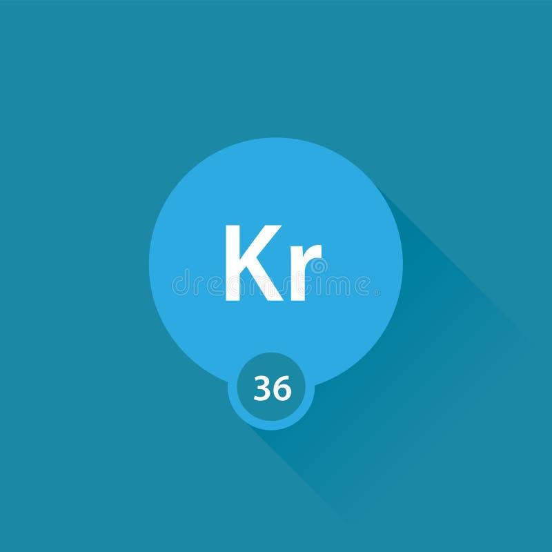 Noble Gas Krypton Flat Icon Stock Illustration Illustration Of
