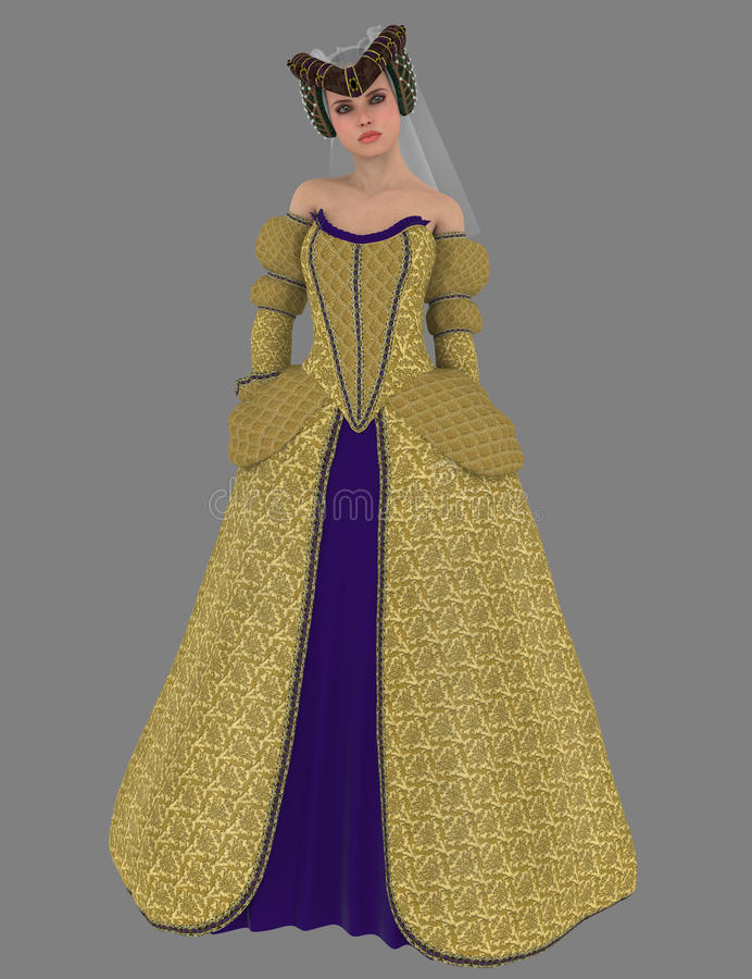 Noble lady in medieval dress royalty free stock photo