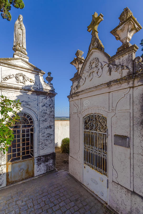 Noble and wealthy people tombs in a typical Catholic cemetery. royalty free stock photos