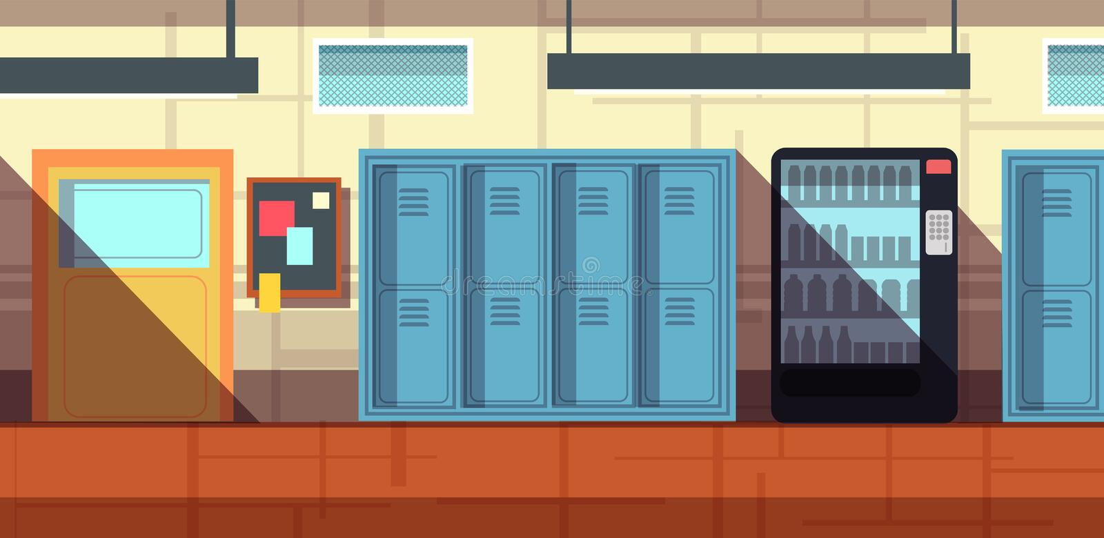 Nobody school corridor interior cartoon vector illustration stock illustration