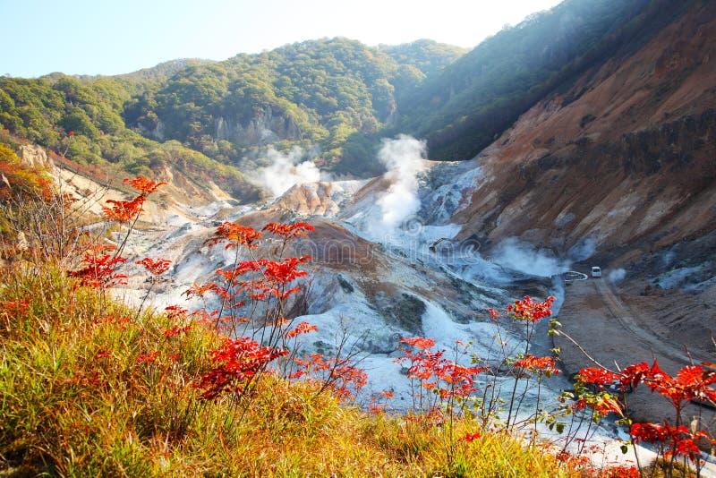 Noboribetsu, Хоккаидо, Япония на долине ада Jigokudani стоковое изображение rf