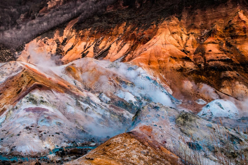 Noboribetsu - Jigokudani - Vulkaan royalty-vrije stock fotografie