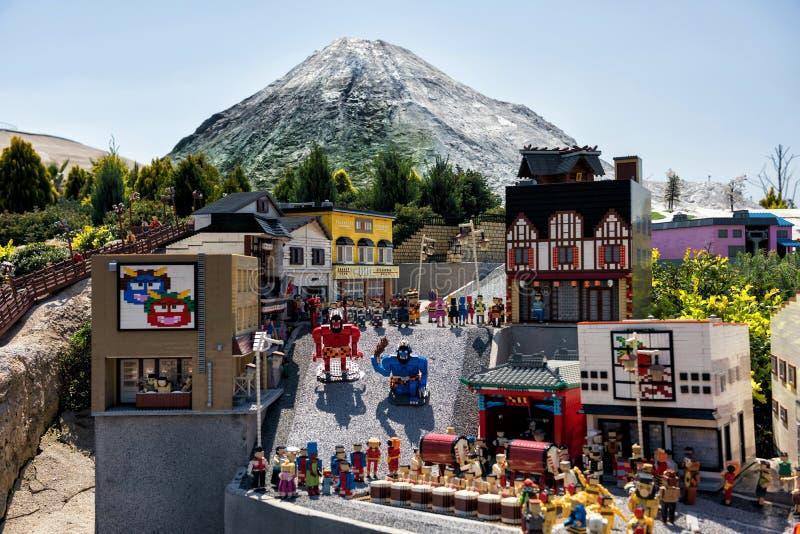 Noboribetsu landmark  model in Legoland, Nagoya. Nagoya, Japan - April 08, 2019: Lego bricks made famous Japanese Noboribetsu landmark in Hokkaido, giant demons royalty free stock images