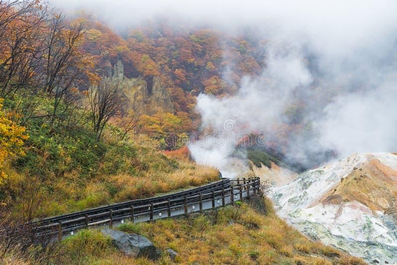 Noboribetsu Onsen en el otoño, Hokkaido, Japón foto de archivo
