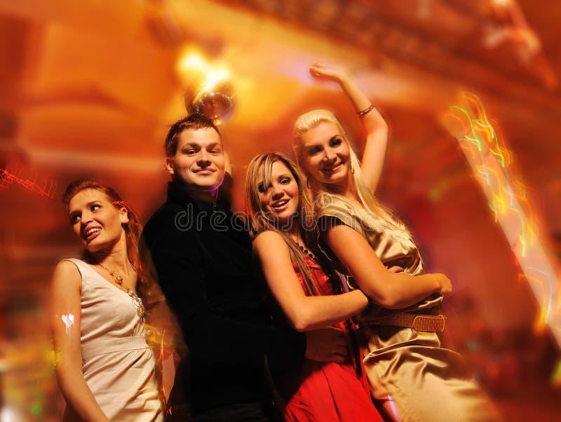 noc świetlicowi dancingowi ludzie fotografia stock