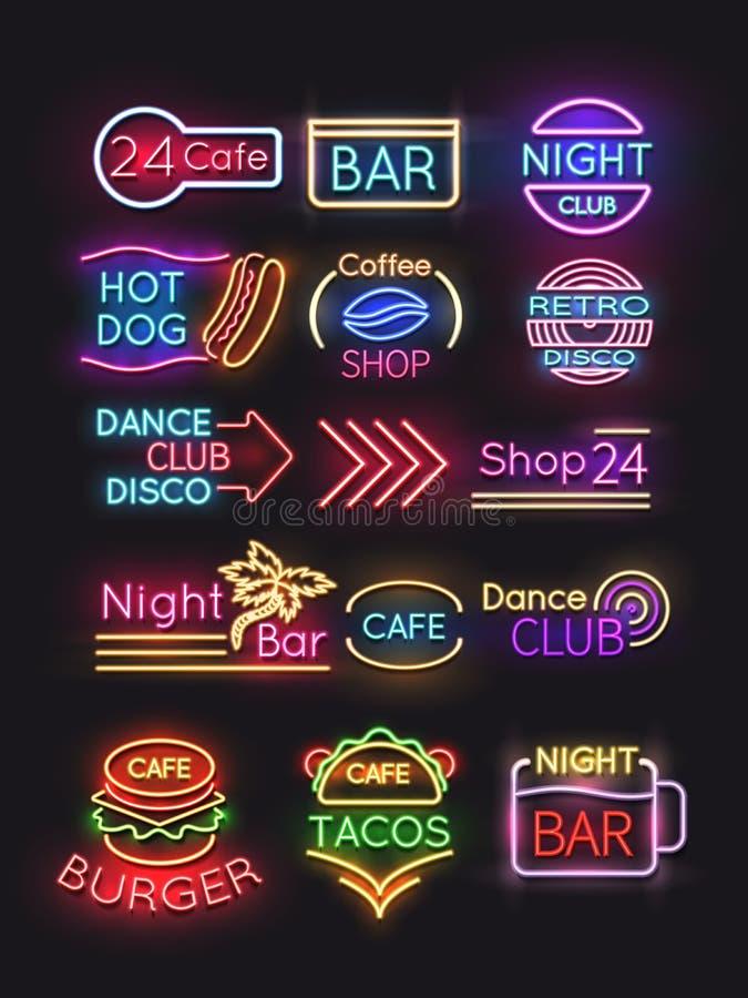 Noc bar, hamburger, kawa, cukierniani neonowi znaki ustawiający royalty ilustracja