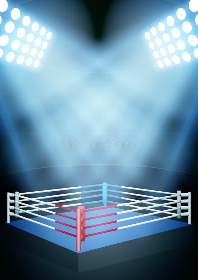 Noc boksuje nagrodzonego pierścionek ilustracja wektor