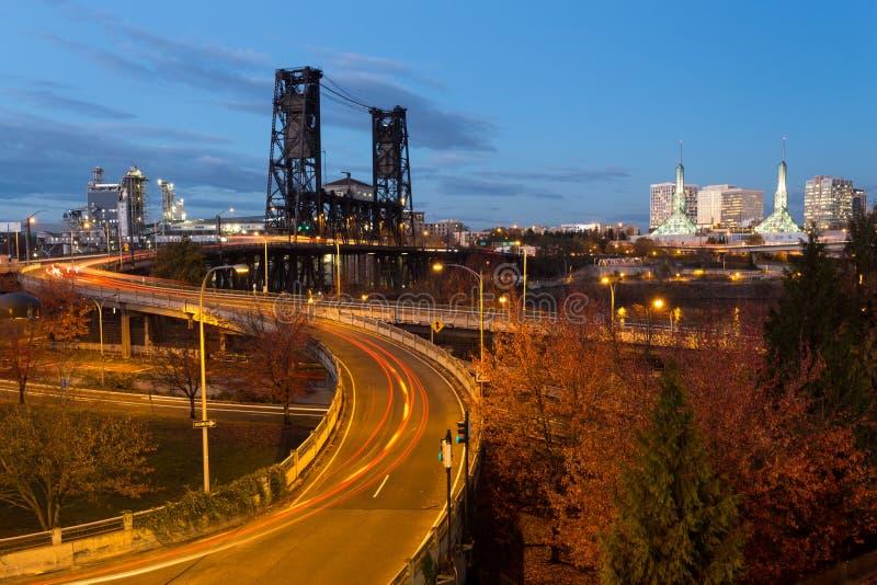 noc bridge Portland oregon zdjęcia royalty free