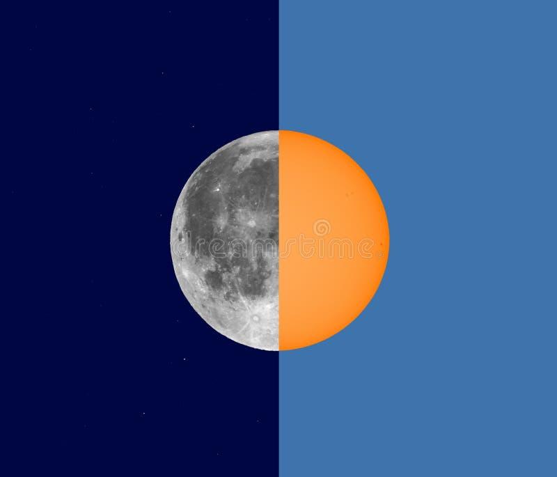 Noc, dnia słońce i księżyc kolaż i zdjęcia royalty free
