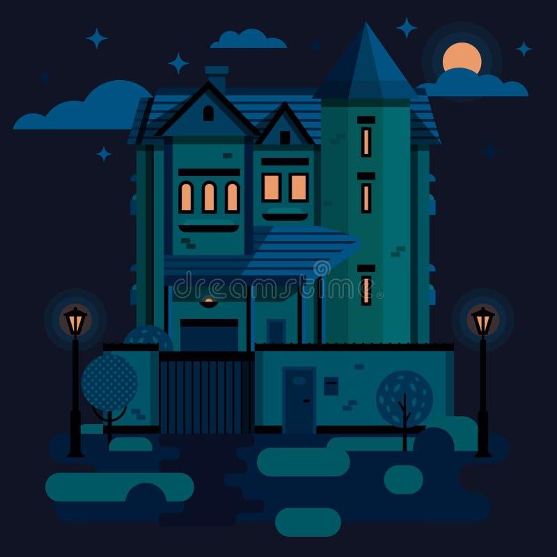 Noc dom miejski ilustracji