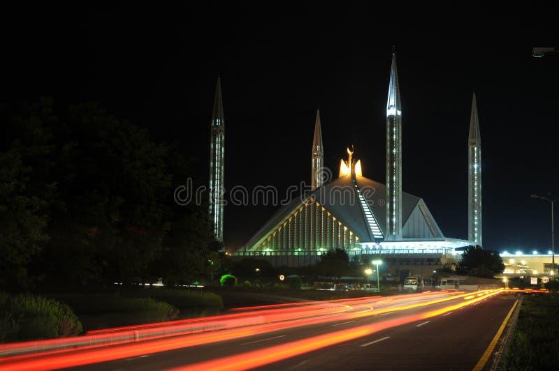 noc faisal meczetowy widok zdjęcie stock