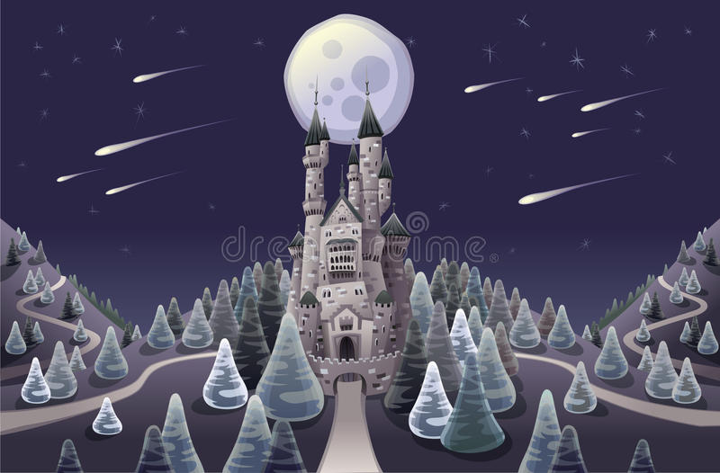 noc grodowa średniowieczna panorama ilustracja wektor