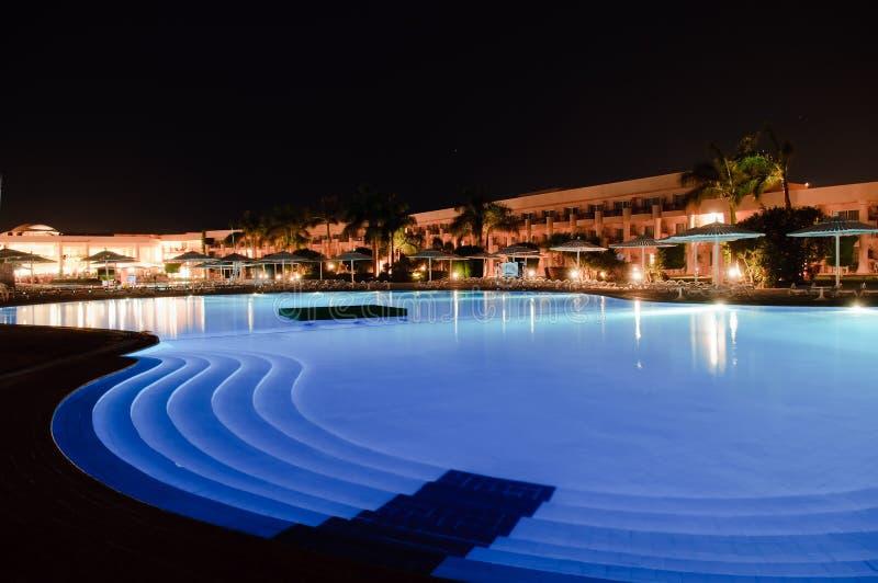 noc hotelowy basen zdjęcia stock