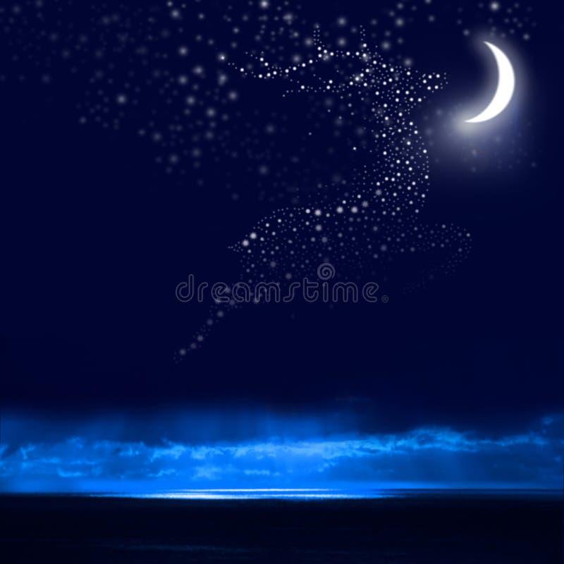 Noc i renifer zdjęcia stock