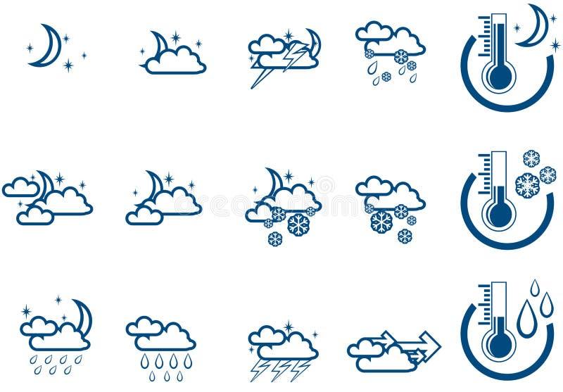 noc icone wektora prognozy pogody postawił royalty ilustracja