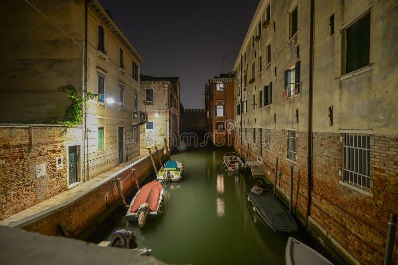 noc kanałowa Wenecji obrazy royalty free