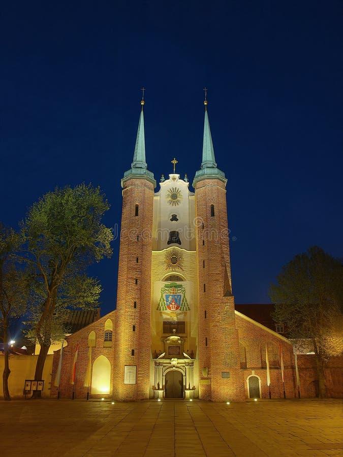 noc katedralny oliwa Poland obrazy stock