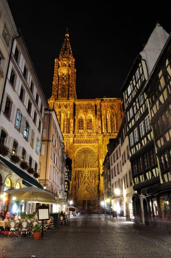 noc katedralny strzał Strasbourg obraz stock