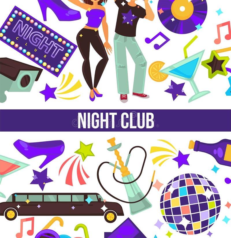 Noc klub tanczy partyjnego mężczyzny i kobiety dyskotekę projektuje royalty ilustracja