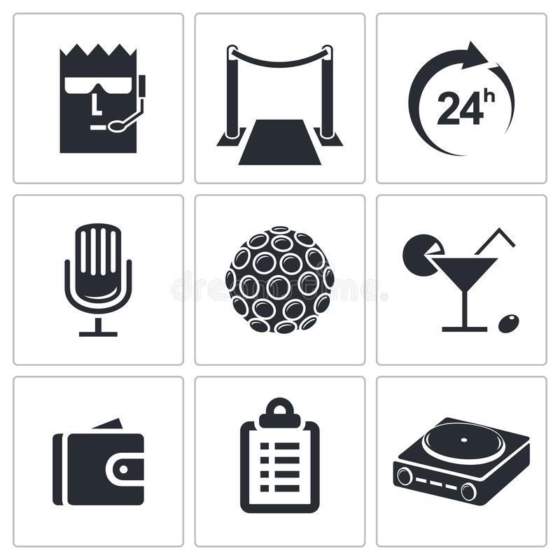 Download Noc klubu ikony kolekcja ilustracji. Ilustracja złożonej z audio - 42525425