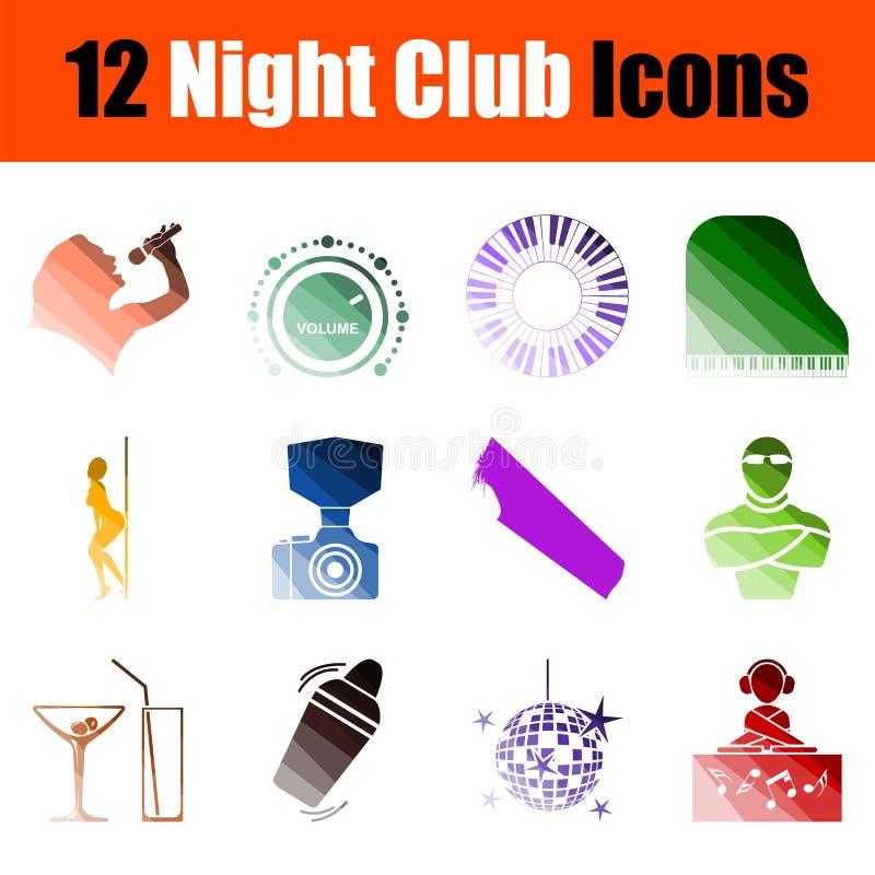 Noc klubu ikony set ilustracji