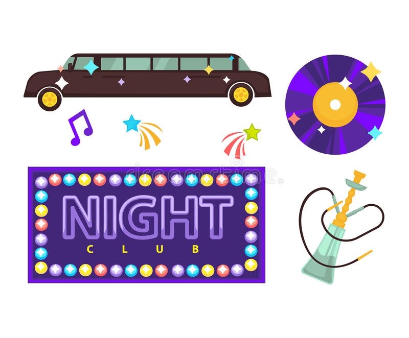 Noc klubu lub dyskoteki przyjęcia wektorowe płaskie ikony ilustracji