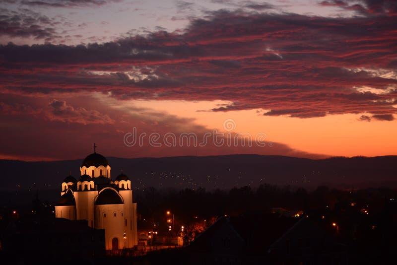 Noc kościół kolory fotografia royalty free