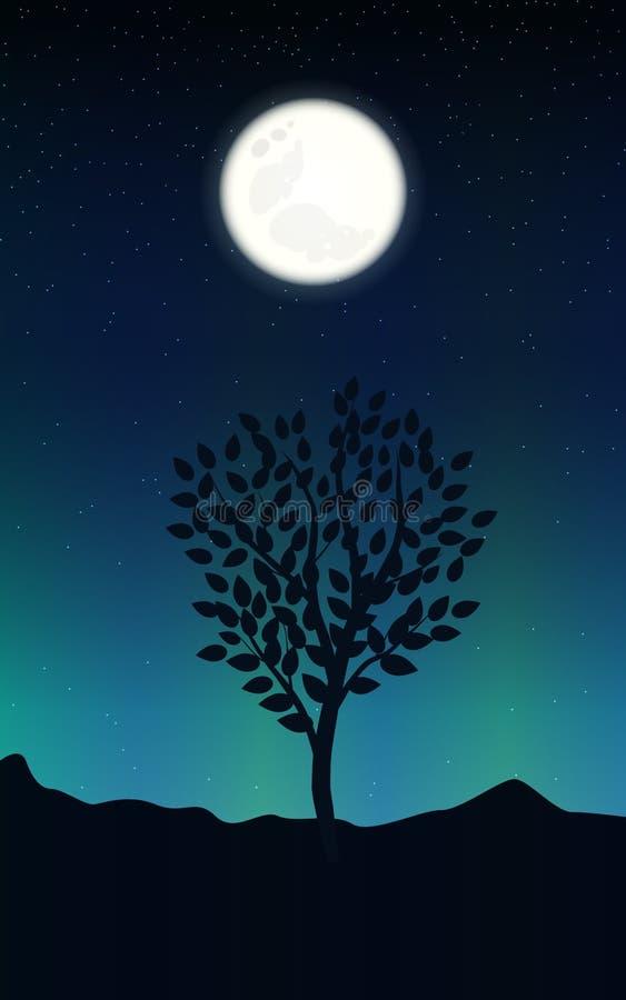 Noc krajobraz z gwiaździstym niebem i księżyc w pełni na tle sylwetki drzewne ilustracja wektor