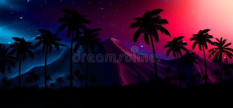 Noc krajobraz z gwiazdami, zmierzch, gra główna rolę Sylwetka koksu drzewka palmowe obrazy stock