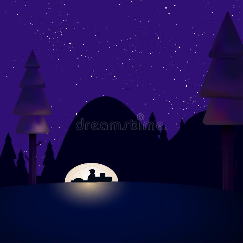Noc krajobraz z turystą w namiocie pod gwiaździstym nocnym niebem ilustracja wektor