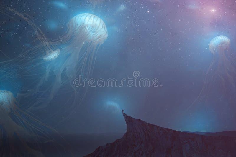 noc krajobrazowa surrealistyczna zdjęcie stock