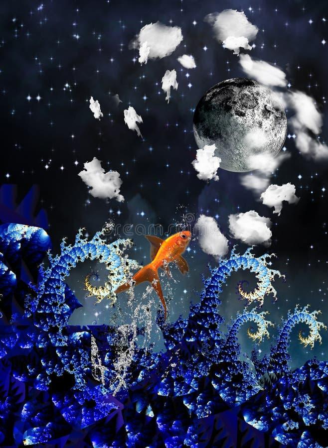 noc morze ilustracja wektor