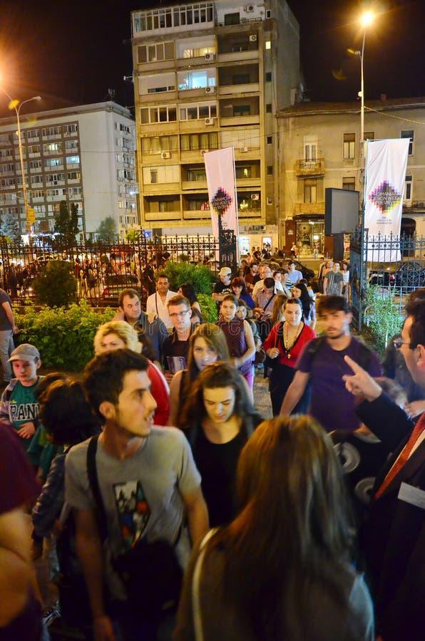 Noc muzea w Bucharest zdjęcia stock