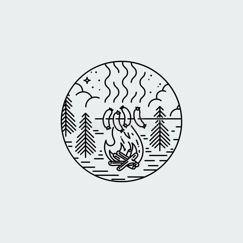 Noc obóz z ogieniem i grillem Natury eksploracji rocznika wektorowy plakat ilustracji