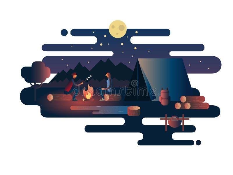 Noc ogień blisko namiotowego obozu ilustracji