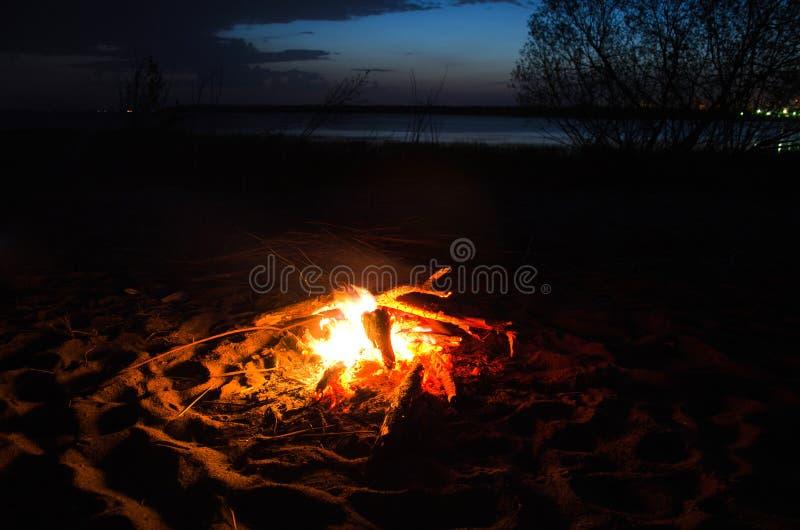 Noc ogień na dzikim plażowym piasku zdjęcia royalty free