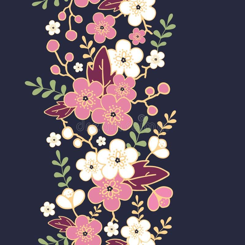 Noc ogrodowy Sakura kwitnie pionowo bezszwowego ilustracji