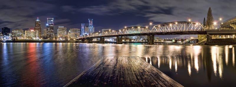noc Oregon panorama Portland zdjęcia stock