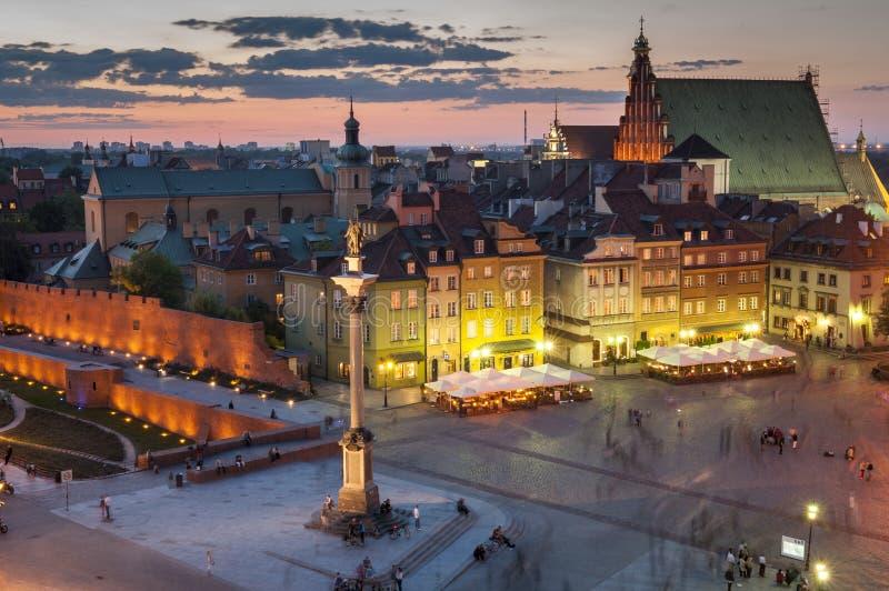noc panorama Warsaw zdjęcie royalty free