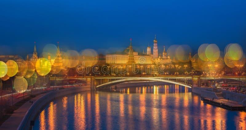 Noc panoramiczny widok Moskwa Kremlin, Rosja zdjęcie royalty free