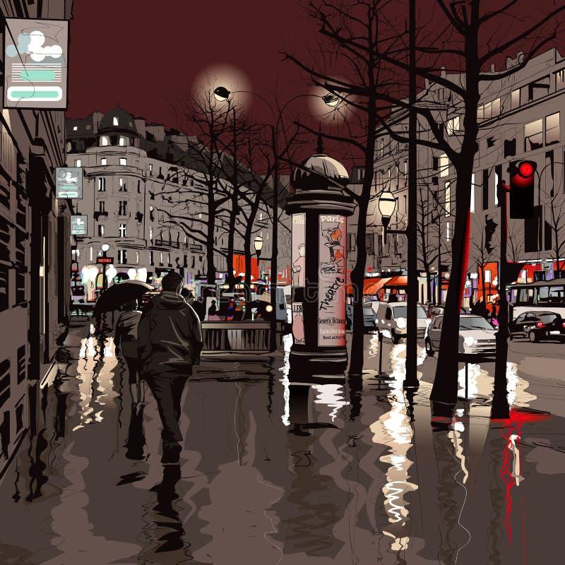 noc Paris royalty ilustracja