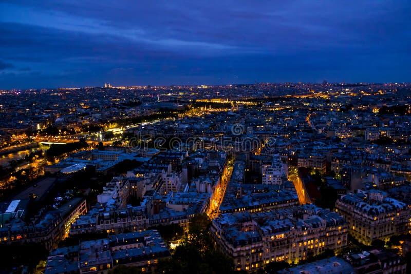 Noc Paryż od wieży eifla zdjęcie stock
